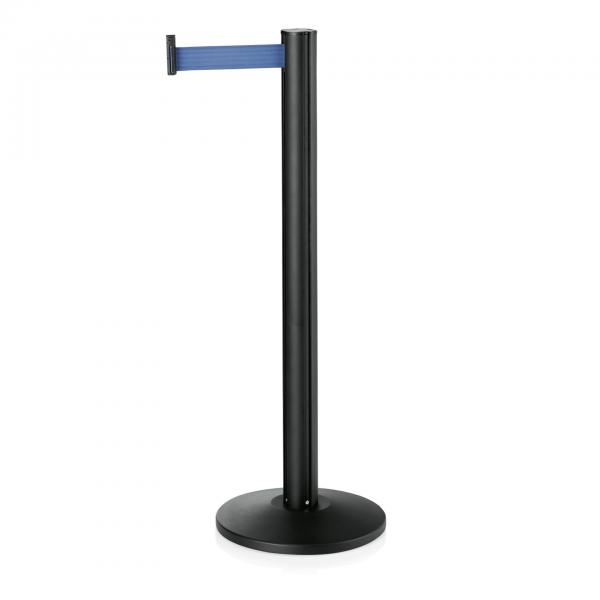 Abgrenzungspfosten Joinflex mit Gurtband blau, 3 m Edelstahl, schwarz pulverbeschichtet