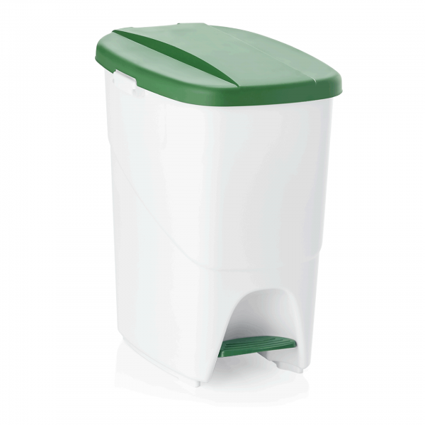 Treteimer mit grünem Deckel, 25 ltr., Polypropylen