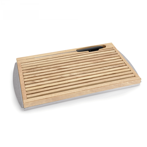Brotschneidebrett mit Edelstahlkrümelschale, 47 x 25,5 x 3,5 cm, Holz