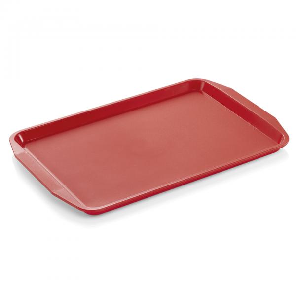 Tablett mit Lappengriffen, 44,3 x 31,5 cm, rot, Polypropylen