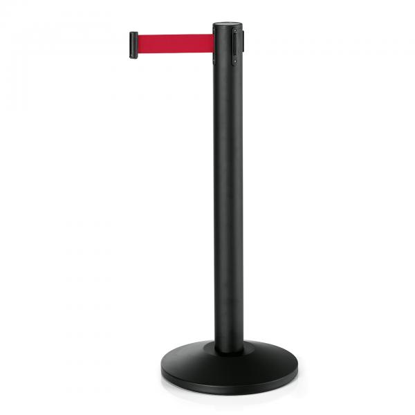 Abgrenzungspfosten Largeflex mit Gurtband rot, 4,5 m, Edelstahl, schwarz pulverbeschichtet