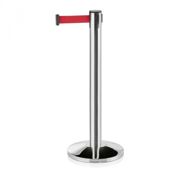 Abgrenzungspfosten Largeflex mit Gurtband rot, 4,5 Edelstahl