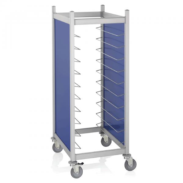 Tablettwagen für 20 GN 1/1 Tabletts, RAL 5005 blau, Aluminium
