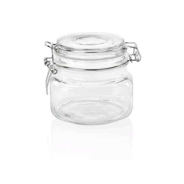 Bügelverschlussglas mit Deckel, 0,50 ltr., 11 x 11 x 10,5 cm, Glas