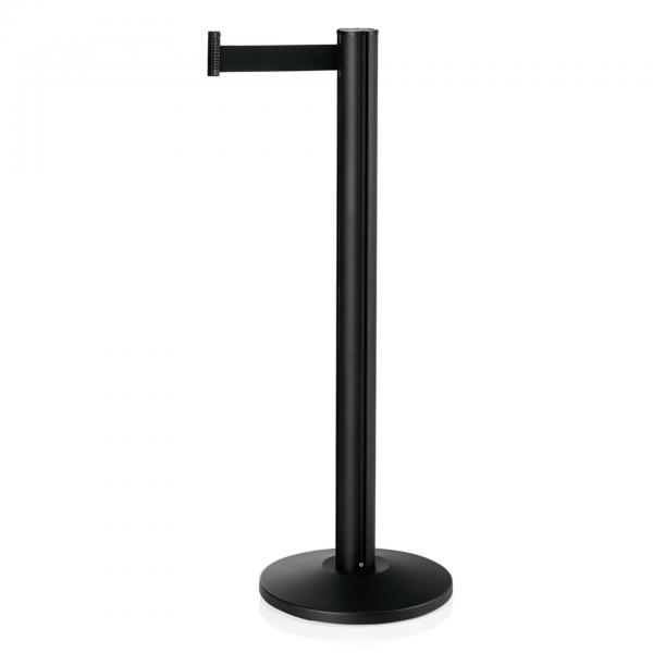 Abgrenzungspfosten Joinflex mit Gurtband schwarz, 3 m, Edelstahl, schwarz pulverbeschichtet