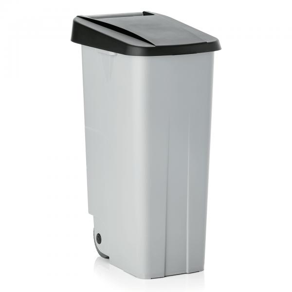 Abfallbehälter mit schwarzem Deckel, 110 ltr., Polypropylen