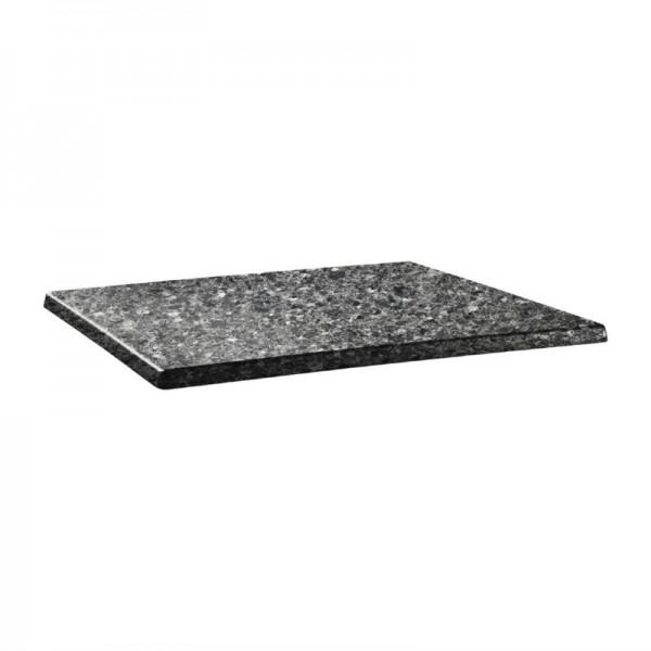 Topalit Classic Line rechteckige Tischplatte schwarzer Granit 110 x 70cm