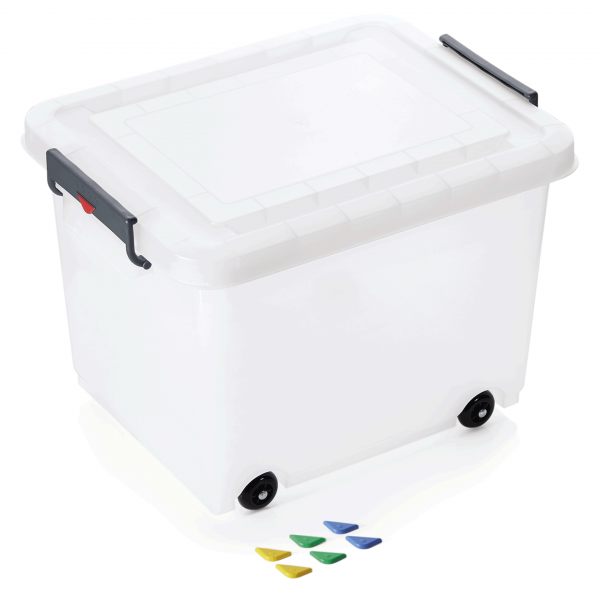 Lebensmittelbehälter mit Deckel & Rollen 60 ltr., 53 x 39,6 x 37,8 cm, Polypropylen