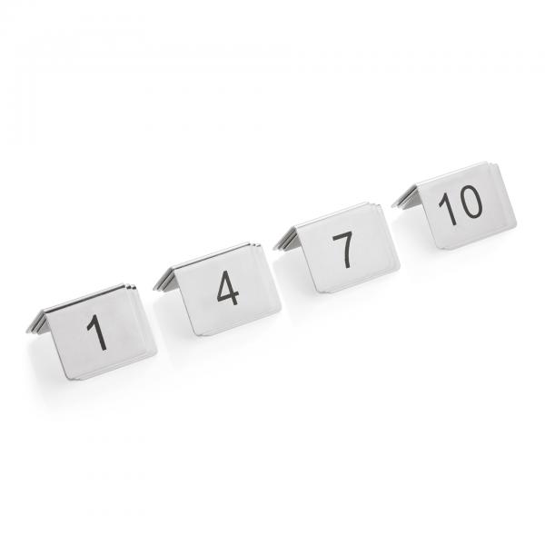 Tischnummernschild Set, 12-teilig, 1-12, Chromnickelstahl