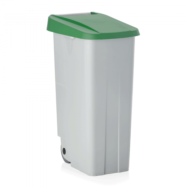 Abfallbehälter mit grünem Deckel, 85 ltr., Polypropylen