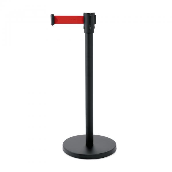 Abgrenzungspfosten Ecoflex mit Gurtband 2 m rot, Edelstahl, schwarz lackiert