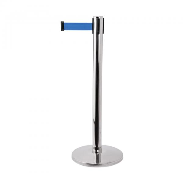 Abgrenzungspfosten Joinflex mit Gurtband blau, 3 m Edelstahl