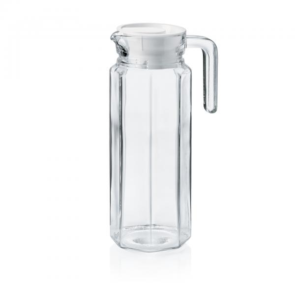 Krug mit Kunststoffdeckel, 1,0 ltr., Glas