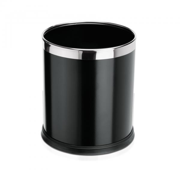 Papierkorb, Ø 22 cm, schwarz, pulverbeschichteter Stahl