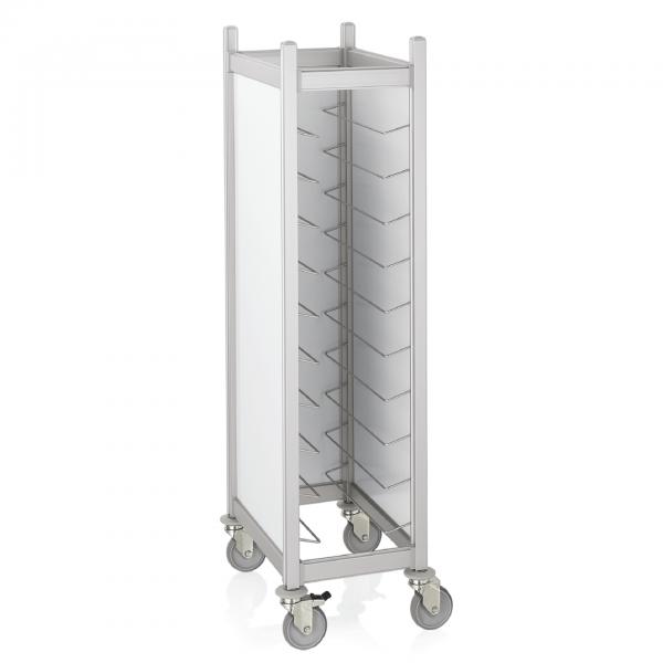 Tablettwagen für 10 GN 1/1 Tabletts, RAL 9016 weiß Aluminium