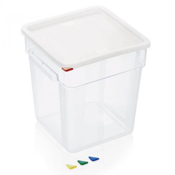 Vorratsbehälter mit Deckel, 18 ltr., 28,5 x 28,5 x 32 cm, Polycarbonat