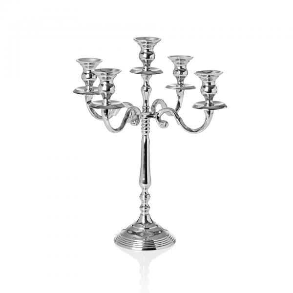 Kerzenhalter, 5-flammig, 30 cm, Aluminium, vernickelt
