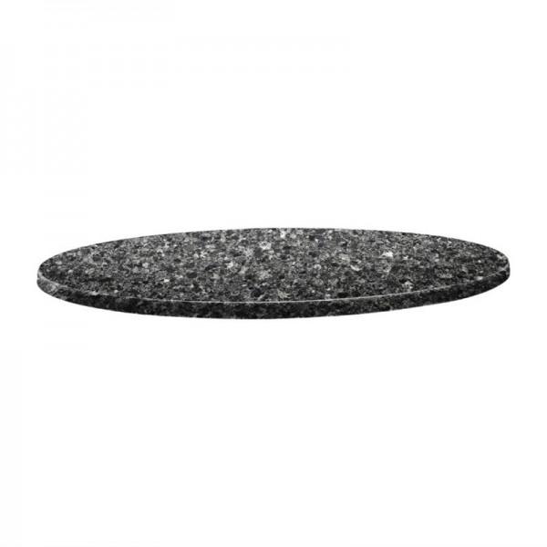 Topalit Classic Line runde Tischplatte schwarzer Granit 80cm
