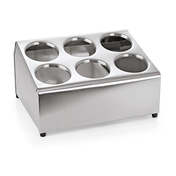 Besteckbehälter für sechs Köcher, Chromnickelstahl