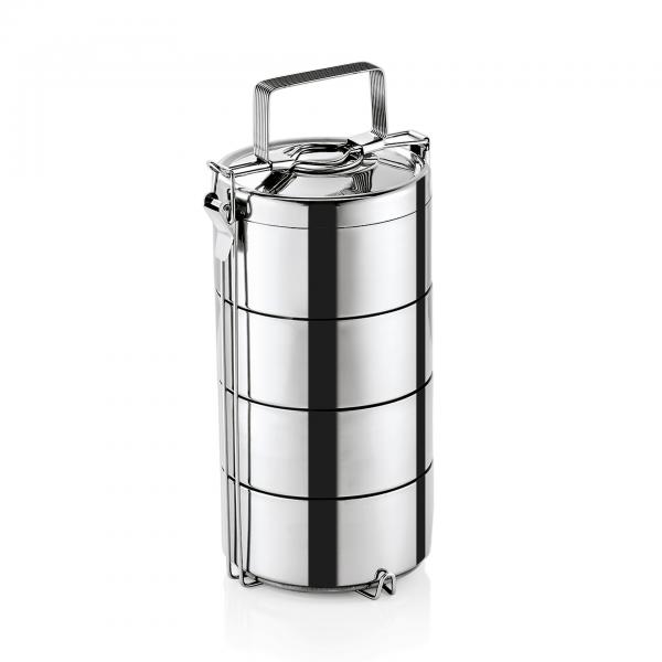 Thermoetagentransportbehälter mit vier Speise einsätzen á 0,6 ltr., Edelstahl