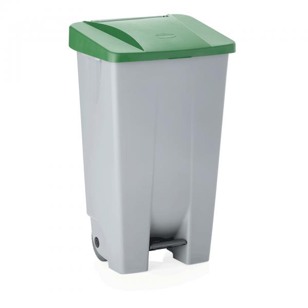 Tretabfallbehälter mit grünem Deckel, 120 ltr., Polyethylen