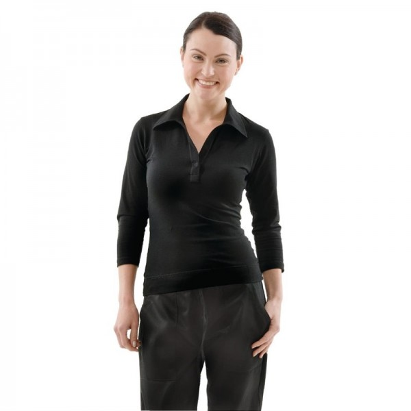 Uniform Works Damen T-Shirt mit V-Ausschnitt schwarz XL