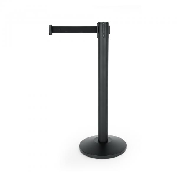 Abgrenzungspfosten Largeflex mit Gurtband schwarz, 4,5 m, Edelstahl, schwarz pulverbeschichtet
