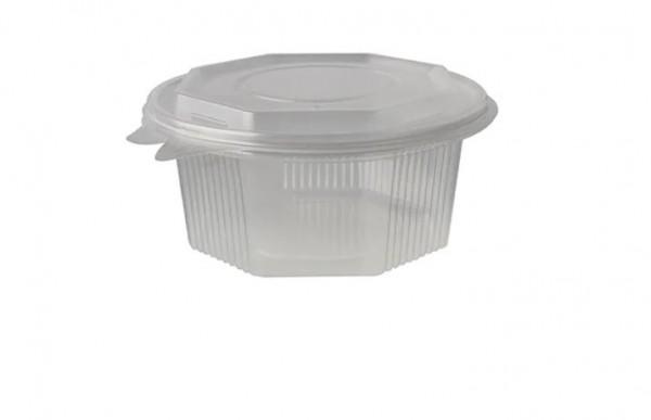 Salatbox 1000 ml transp. 8-eckig PP mit abreißbarem Deckel 6 x 50 Stk.