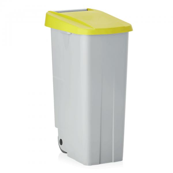 Abfallbehälter mit gelbem Deckel, 85 ltr., Polypropylen