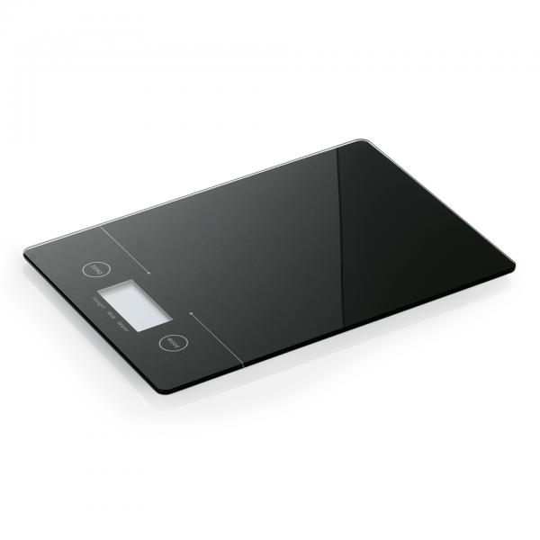 Digitale Waage, 19,4 x 14 x 1,4 cm, schwarz, Glas