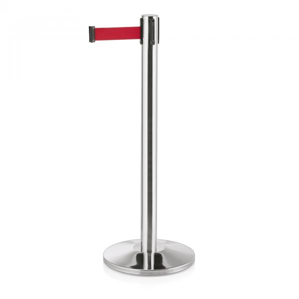 Abgrenzungspfosten Joinflex mit Gurtband rot, 3 m, Edelstahl