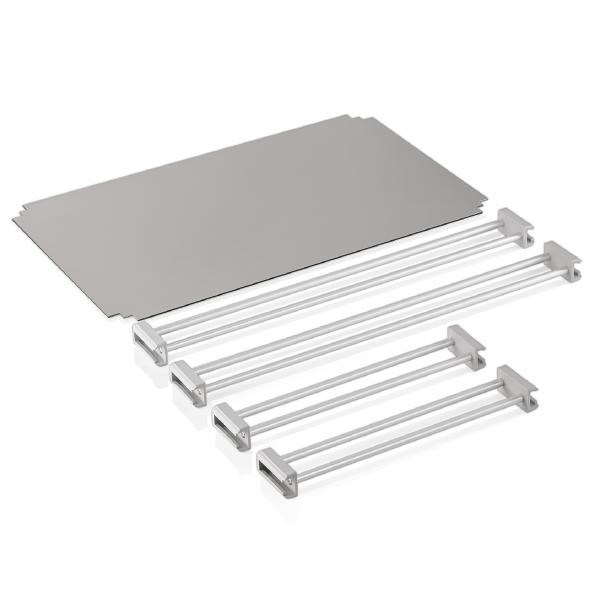 Abdeckung & Reling für Tablettwagen 1960 533, RAL 9006/9016, silber/weiß, Premium+