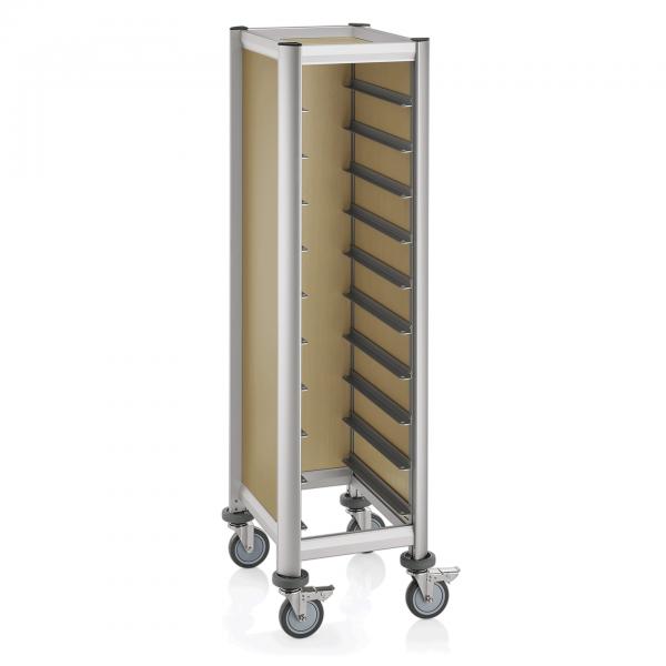 Tablettwagen für 10 Tabletts, 60,5 x 44,5 x 165 cm, helle Holzoptik, Alu-Profile/MDF