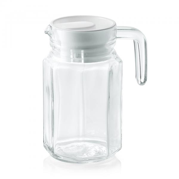 Krug mit Kunststoffdeckel, 0,5 ltr., Glas