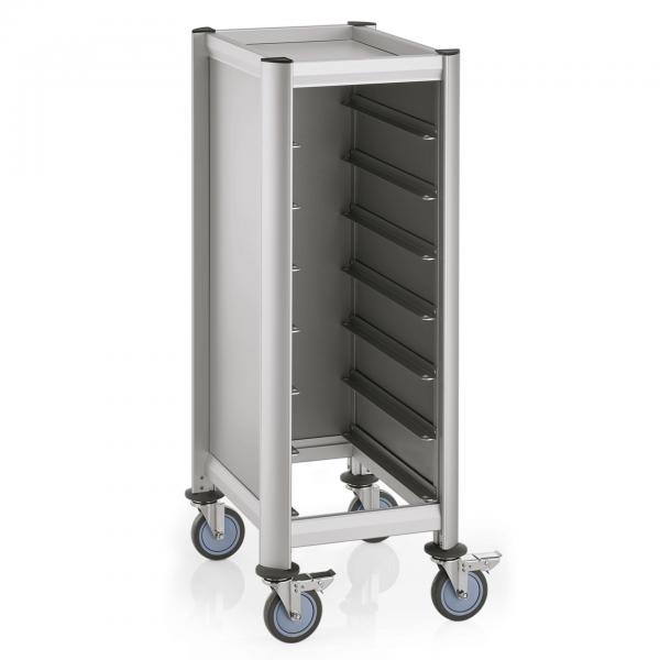 Tablettwagen für 7 Tabletts, 60,5 x 44,5 x 125 cm, Alu-Profile/MDF