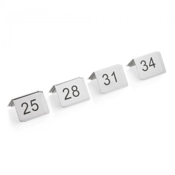 Tischnummernschild Set, 12-teilig, 25-36, Chromnickelstahl