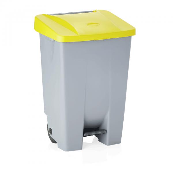 Tretabfallbehälter mit gelbem Deckel, 80 ltr., Polyethylen