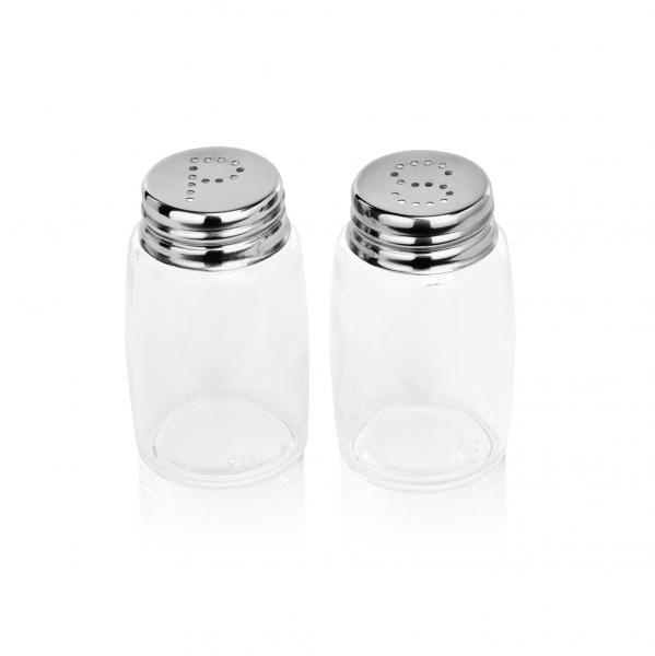Salz-/Pfefferstreuer Set, 7 cm, Glas/Edelstahl