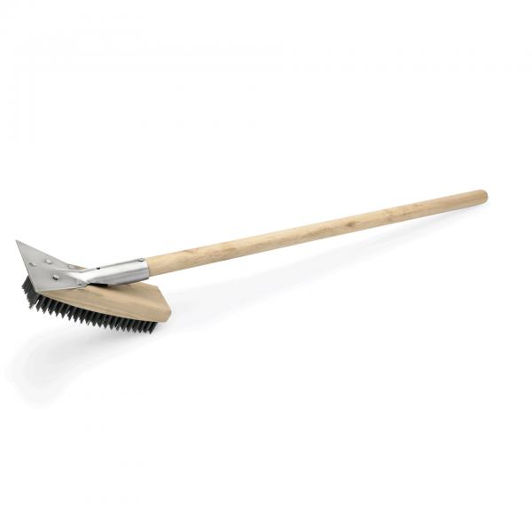 Reinigungsbürste mit Schaber, 75 cm, Ausführung längs, Holz/Stahl