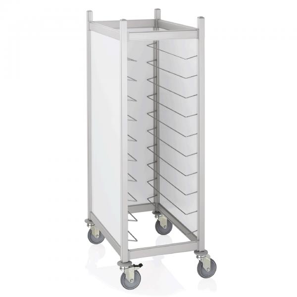 Tablettwagen für 20 Tabletts 45,5 x 35,5 cm, RAL 9016 weiß, Aluminium