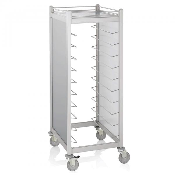 Tablettwagen für 20 GN 1/1 Tabletts, RAL 9006/9016 silber, weiß, Aluminium