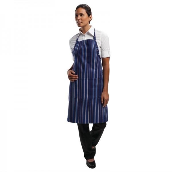 Chef Works verstellbare Latzschürze marineblau blau gestreif