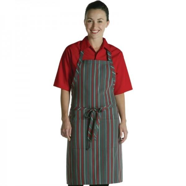 Chef Works verstellbare Latzschürze rot-grau gestreift