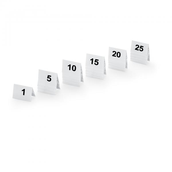 Tischnummernschild Set, 25-teilig, 1-25, Kunststoff
