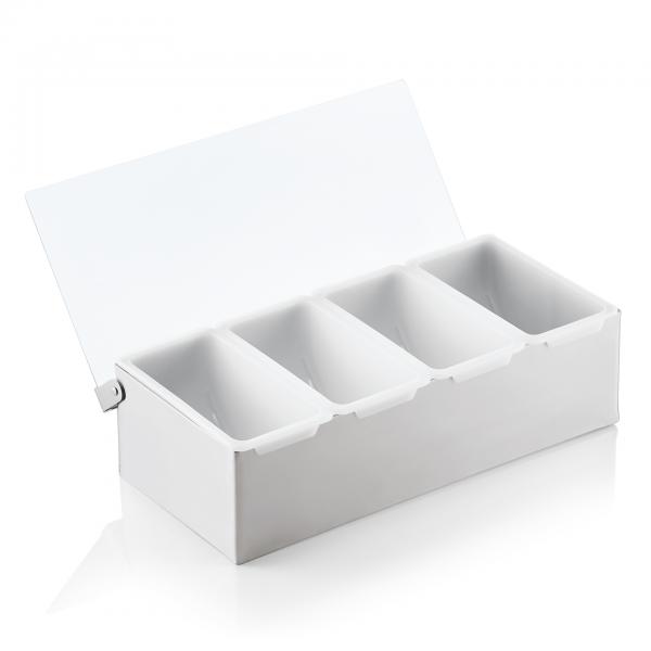 Zutatenbehälter mit vier Einsätzen á 0,473 ltr., Chromnickelstahl/Acryl