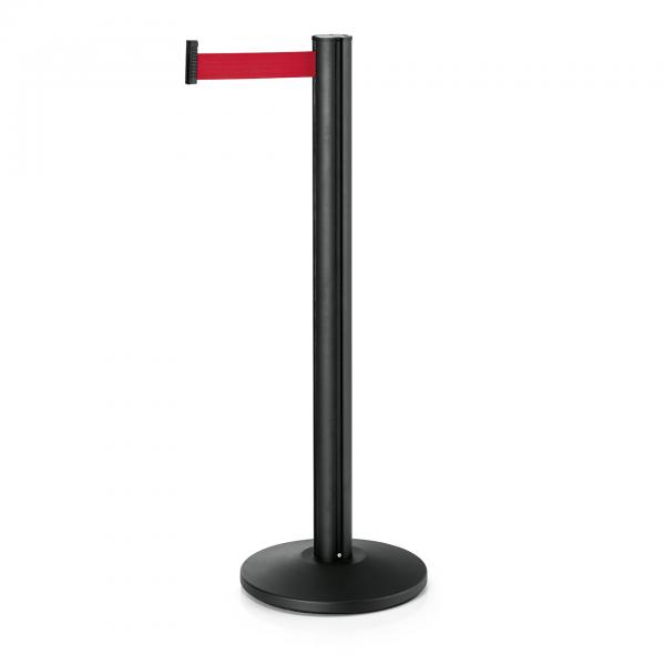 Abgrenzungspfosten Joinflex mit Gurtband rot, 3 m, Edelstahl, schwarz pulverbeschichtet