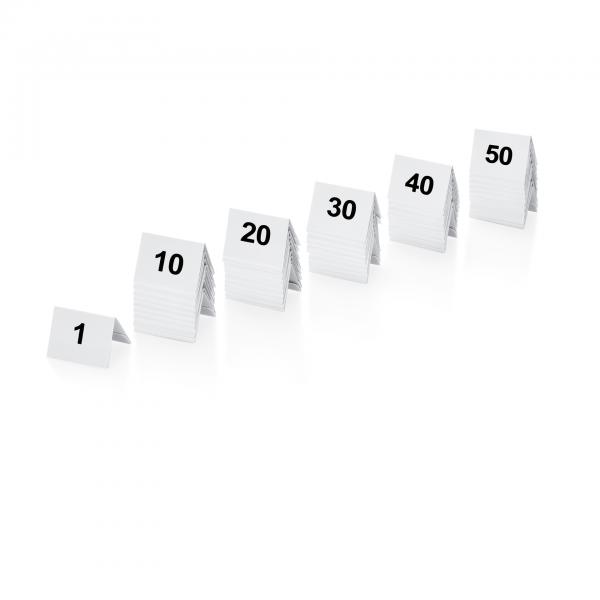 Tischnummernschild Set, 50-teilig, 1-50, Kunststoff